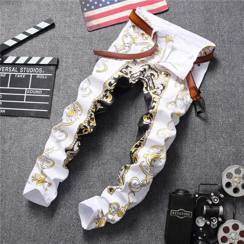 Fashion Streetwear Mens Jeans Slim Fit White Color Elastic Punk Pants Hip Hop Jeans Night Club Style Pattern Printed Men