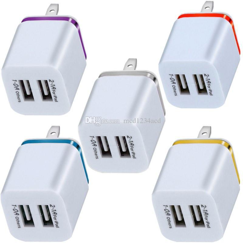 Dual-USB-Anschlüsse Metallring-Wandladegerät 2.1A-Netzteil-Stecker für iPhone 7 8 x 11 Samsung S8 S9 S10 Anmerkung 8 LG Android-Telefon