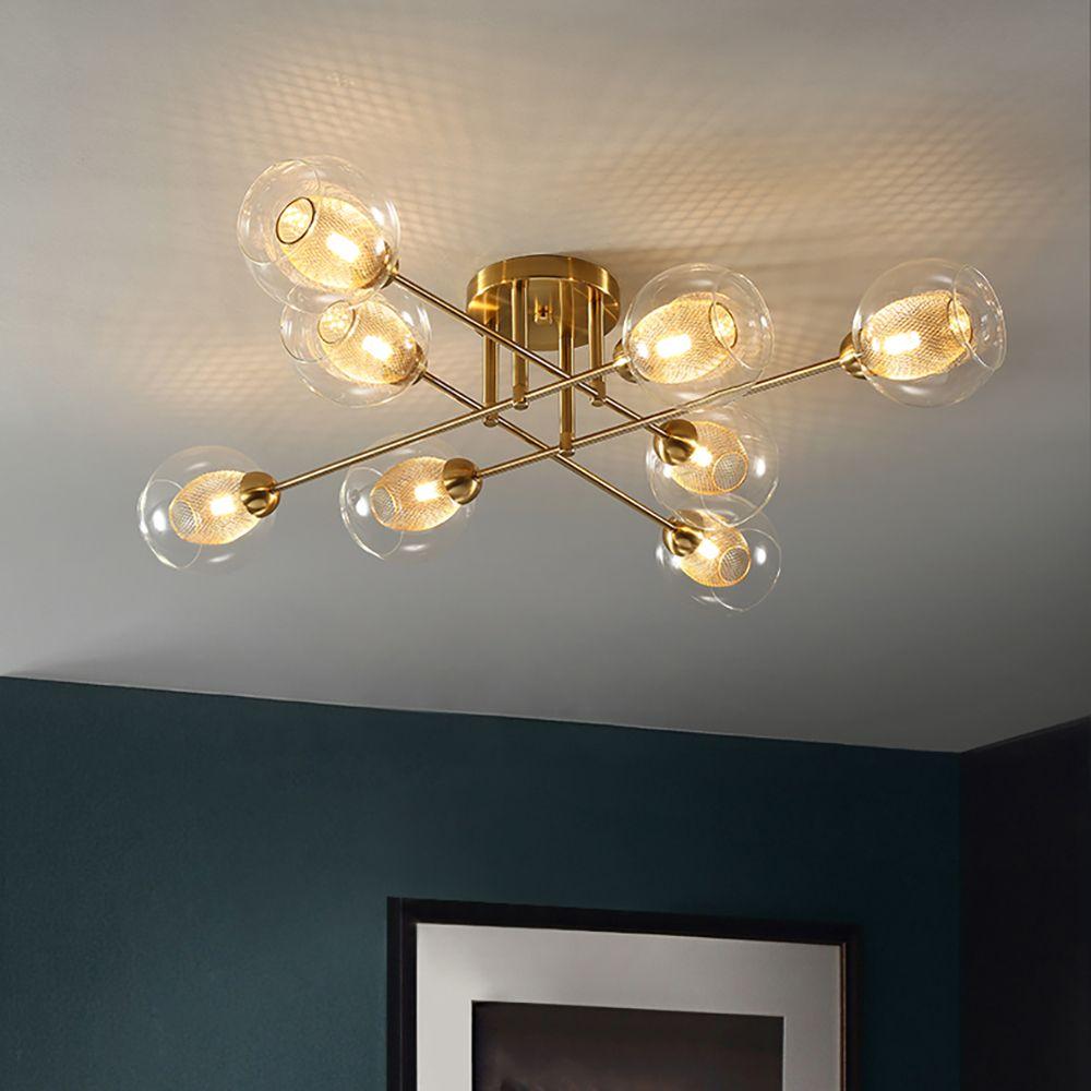 Youlaike LED Lustre Moléculaire Loft Nordic Dôme Lampe Simple En Fer Forgé Lampe De Verre Salon Hanglamp Salle À Manger Lumières
