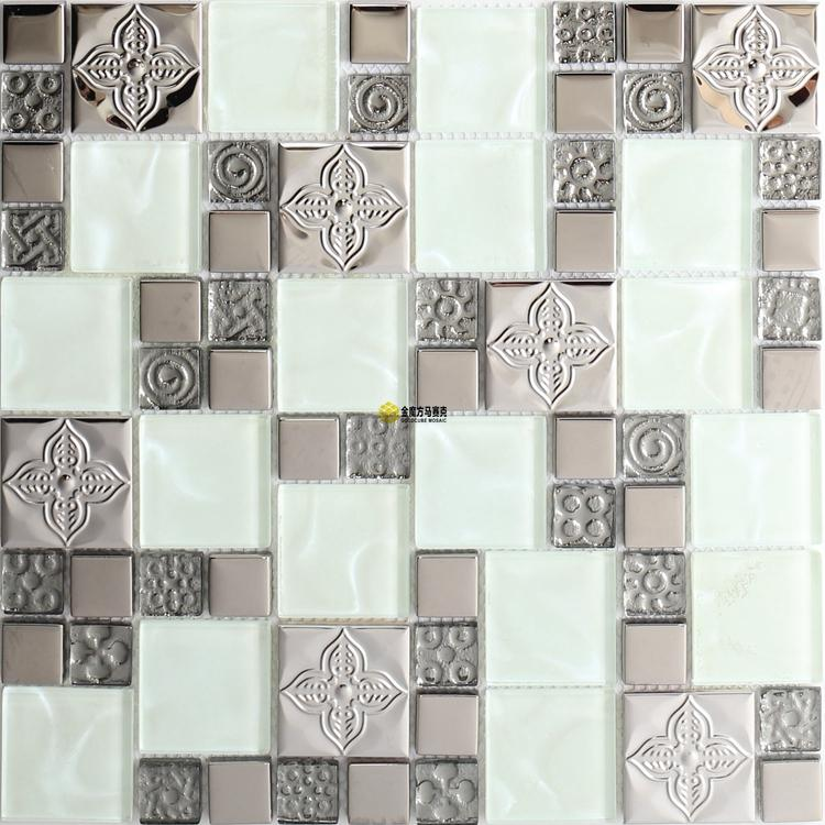 2021 Crystal White Glass Mosaic Tile Backsplash Kitchen Jmfgt043 Silver Metal Stainless Steel Glass Mosaic Wall Tile From Sophie Charm 15 87 Dhgate Com