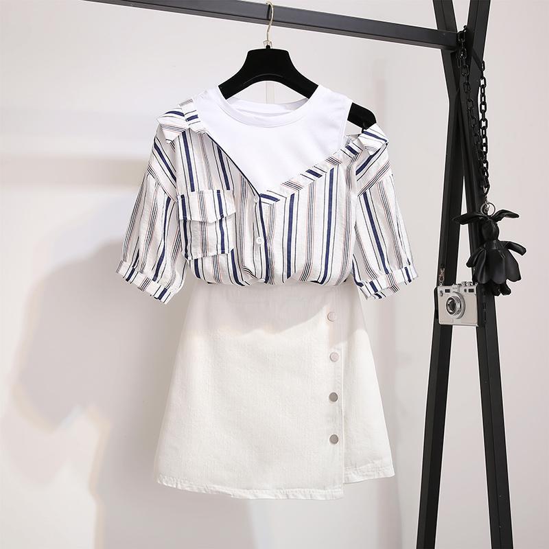 Tallas grandes Mujer Verano Rayas de algodón Camiseta blanca Sexy Hombro apagado + Lápiz Faldas trajes para mujer Dos piezas Conjunto de falda de mujer