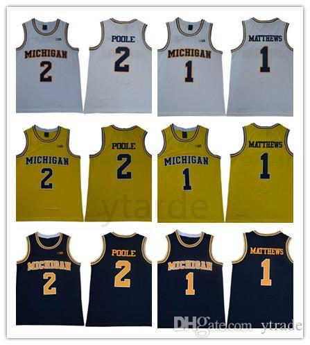 NCAA 2019 Michigan Wolverines College Charles Matthews # 2 Jorda Poole University Jersey de baloncesto para hombre S-3XL Mejor cosido