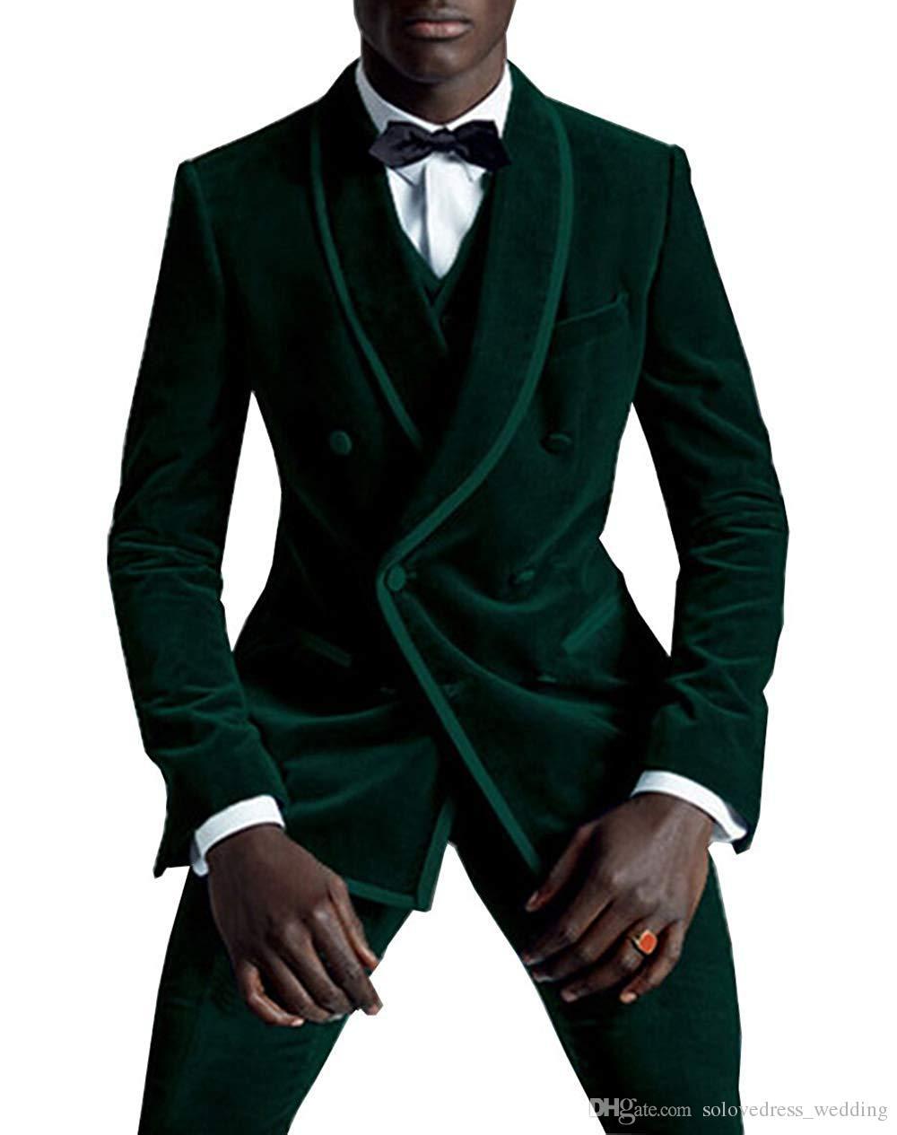 New Green Men's Suits Two Pieces Customize Slim Fit Groom Tuxedos Groomsmen Wedding Men Suits (Jacket+Pants)