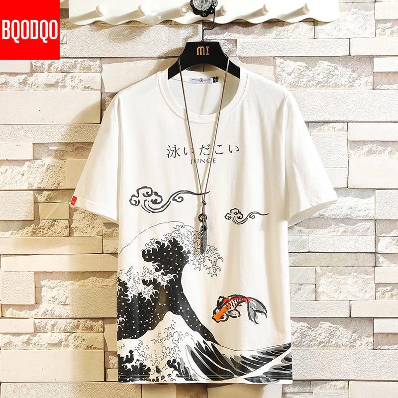 Anime drôle oversize imprimé hommes T-shirt Hip-Hop coton T-shirt O col d'été japonais Homme Causal T-shirts 5XL Mode en vrac T-shirts