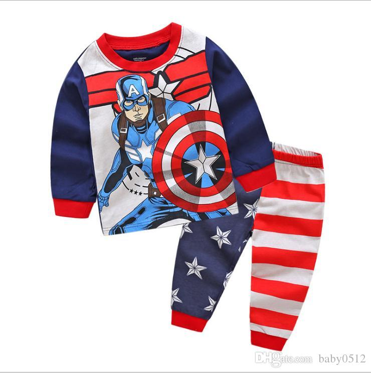 Boys Pyjamas Kids Set Marvel Avengers Print Heroes Top Bottoms Captain America