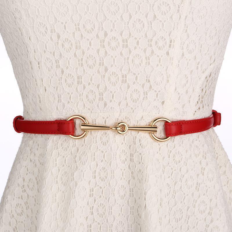 WKOUD EAM 2020 in pelle Primavera Estate fibbia in metallo sottile cinturino in PU cintura temperamento delle donne di personalità di nuovo modo di Tutto-fiammifero 6A013