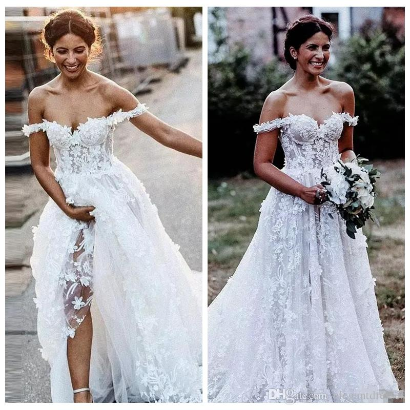 Off Shoulder Full Lace A-Line Wedding Dresses Beach Modest Garden Lace Up Back Bridal Gowns Formal Vestidos De Marriage Cheap Beautiful