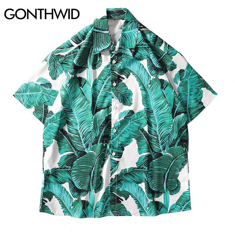 GONTHWID Palmblätter drucken Hawaii-Shirts Männer Beach Camp Aloha Tropical Hemd Sommer-beiläufige kurze Hülsen-Button-Down-Hemden Top