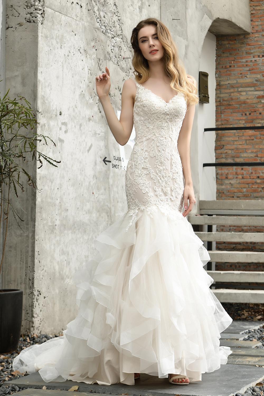 Ivoire sirène robes de mariée en dentelle col en V manches en tulle Backless étage longue robe de mariée robe de mariée cps1471