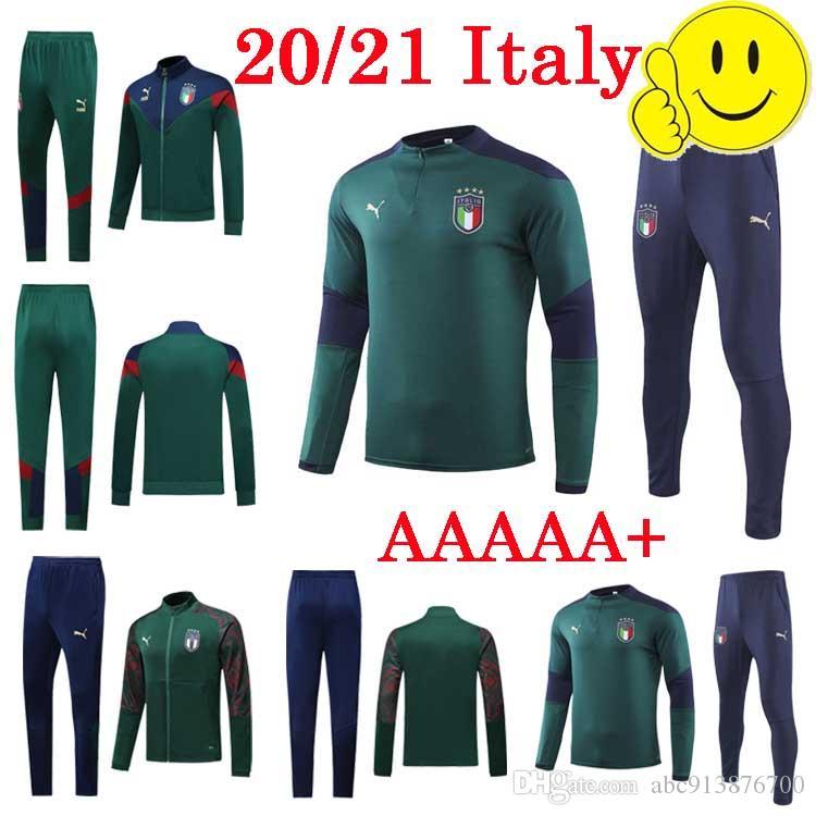 2020 لعبة كرة القدم إيطاليا سترة بدلة رجالية الإيطالية طويلة الأكمام مسود رياضية الأخضر للرجال لكرة القدم ايطاليا عرق الدعاوى سترة + سروال