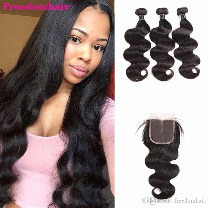 Brazilian Straight Virgin Hair Weaves With Closure 100% Human Hair Bundles With Lace Closure Cheap Hair Weaves Straight With Lace Closure
