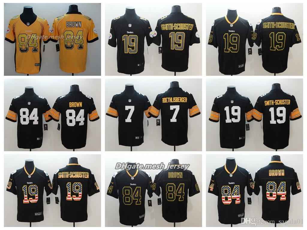 promo code 05501 7025a 2019 Men Pittsburgh Jersey Steelers 19 JuJu Smith Schuster 84 Antonio Brown  7 Ben Roethlisberger Color Rush Football Stitching Jerseys From Cpu01, ...
