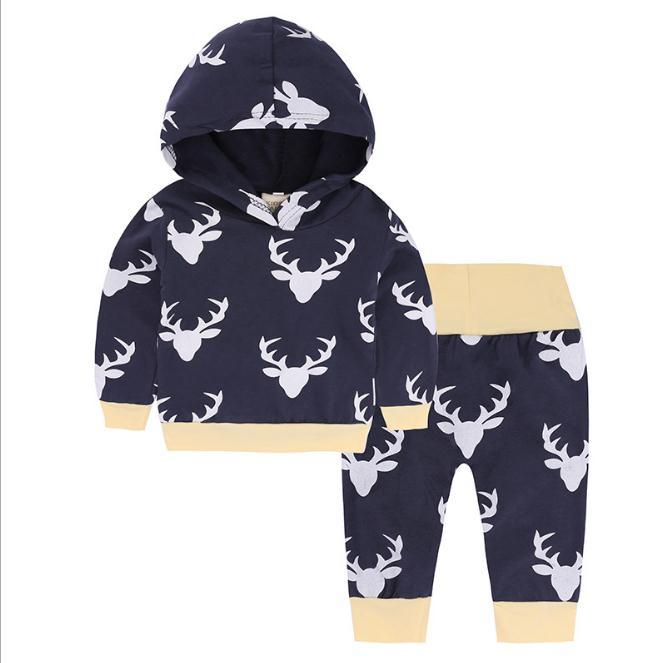 Infant Clothes Baby Clothing Sets Baby Boys Christmas deer Hoodie Tops Long Pants 2Pcs Outfits Set Clothes