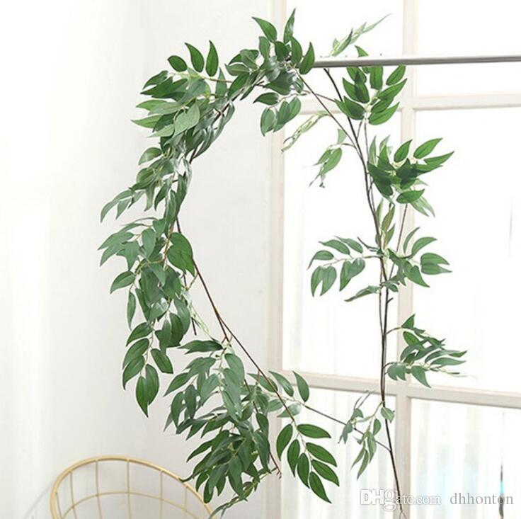 The Artificial willow vine green rattan for wedding and home garden decorations hanging decorative green leaves AP008