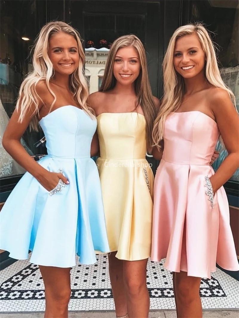 New corto vestidos de baile moldeado sin tirantes de bolsillos fiesta de graduación con cordones de los vestidos barato personalizada Batas De Soriee