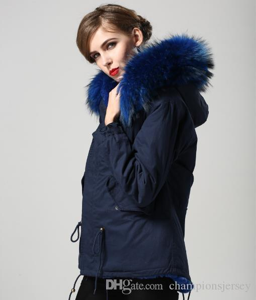 Hot sales 5 colours military short jacket for Ladies hooded with Raccoon fur collar and real rabbit furs Liner