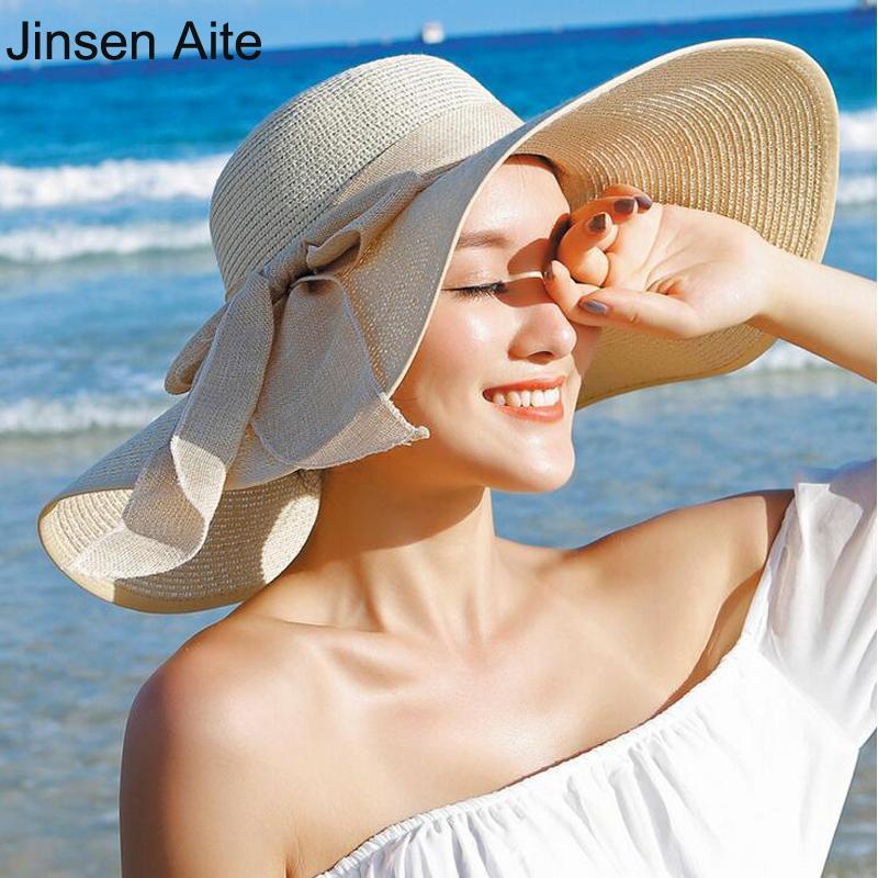 Breite Krempe Hüte Mode Sommer Große Strohhut Frauen Mädchen Sun UV Schutz Big Bow Beach Beiläufige Headwear Chapeau Weibliche 3105