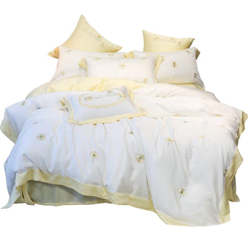 Daisy Tencel 4 pezzi di lusso ricavate qualità del ricamo degli anni '60 l'Europa di seta bianca Federa DuvetCover lenzuolo federa Set Re Queen Size