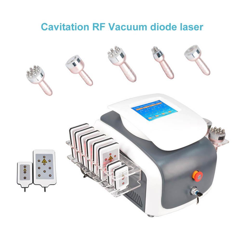 6 en 1 ultrasónica 40 Khz cavitación liposucción RF vacío lipo láser multipolar diodo RF lipoláser láser anti envejecimiento de la máquina de rejuvenecimiento de la piel