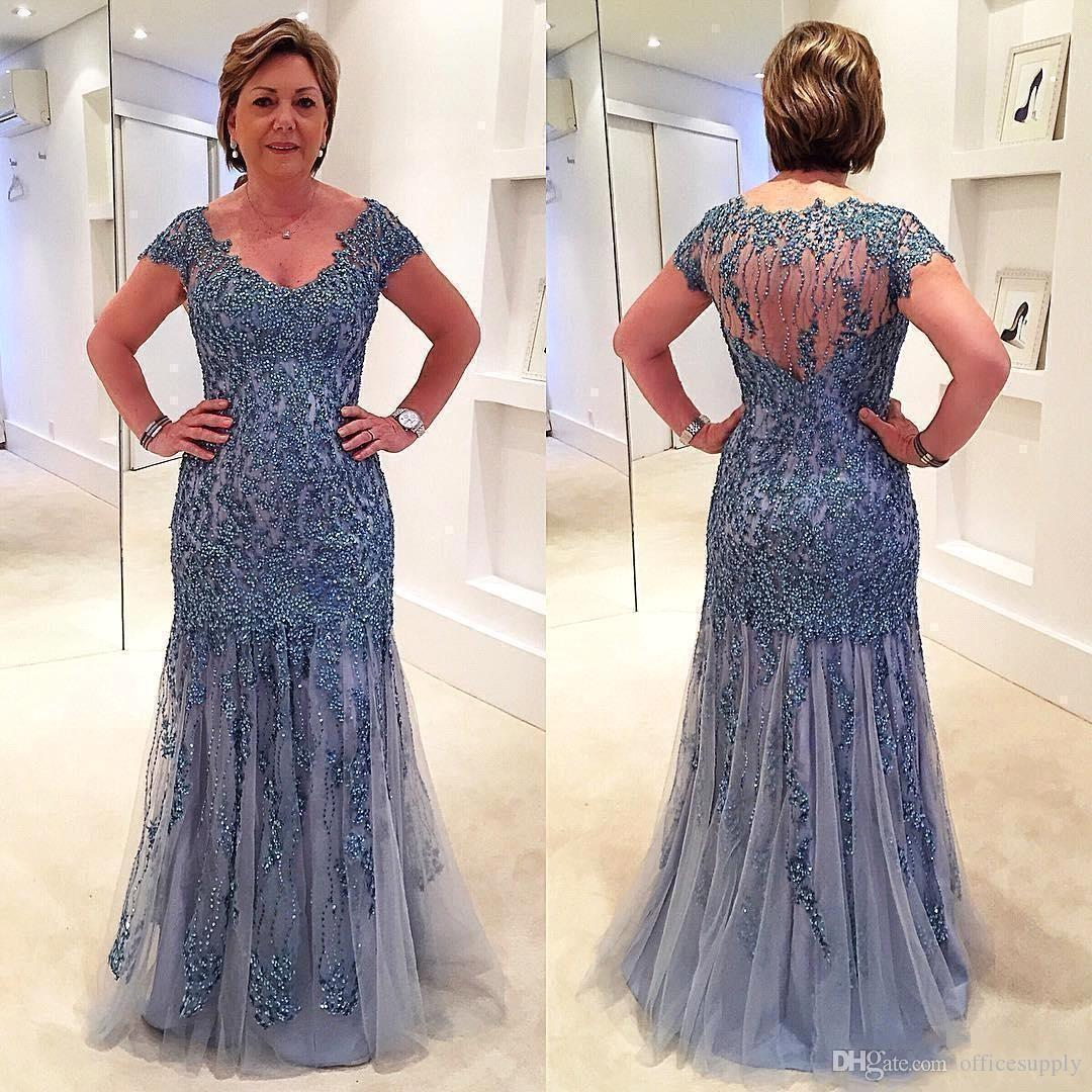 V Neck Plus Size Mother Of The Bride Dresses 2019 Short Sleeve Beaded Tulle  Floor Length Wedding Prom Guest Mother Evening Gowns Mother Of The Grooms  ...