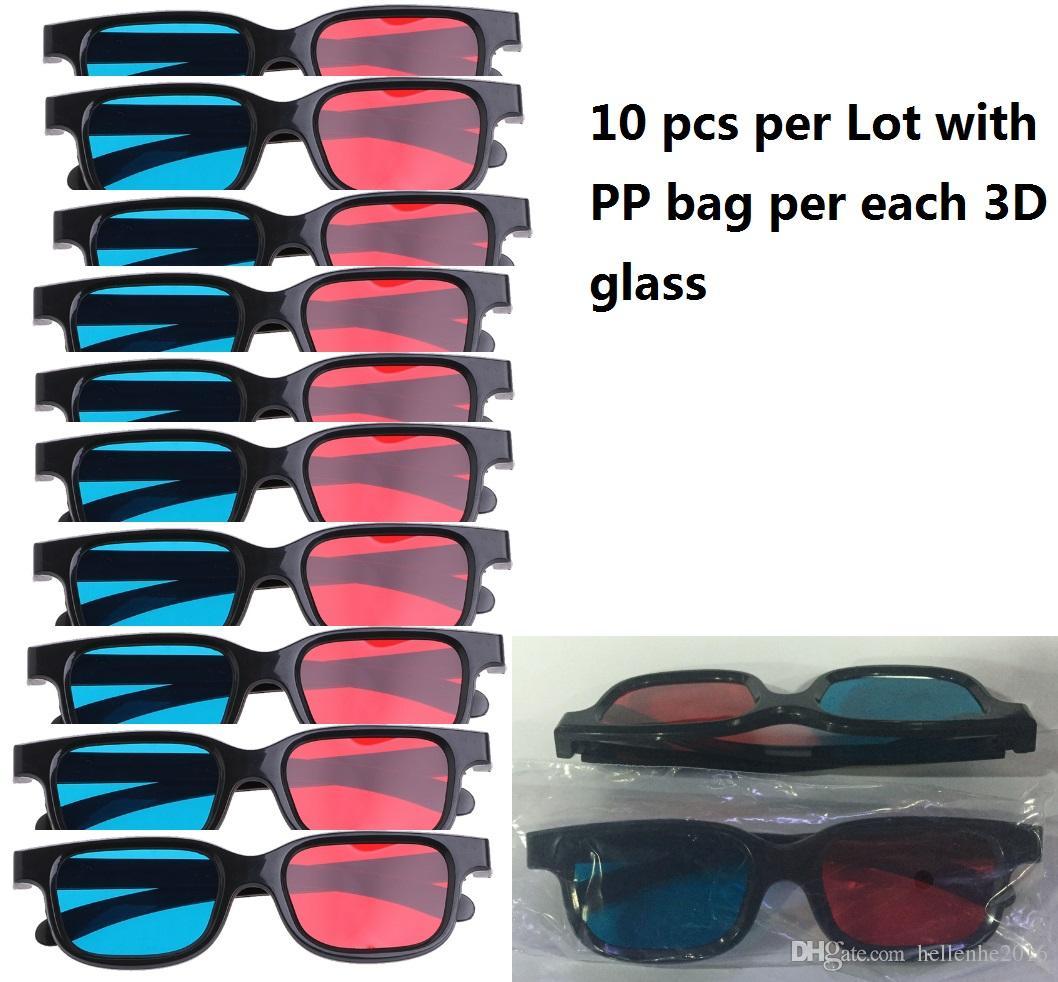 10 pcs por lote Novo Azul Vermelho Óculos 3D Anaglyph Emoldurado Óculos de Visão 3D Para O Filme Jogo DVD Video TV
