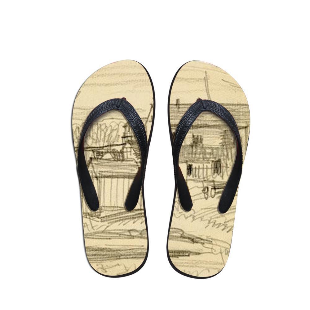 2019 Новое прибытие Картина Цвет Летний пляж Шлепанцы Женщины Высокий Vogue тапочки сандалии Lady Flats обувь Исполнитель Печать Pierre