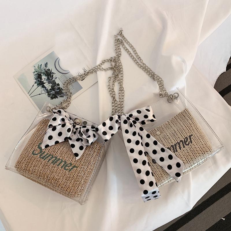 Silk Bandage Transparente + Straw Shoulder Bolsa Cadeia de Bag Mulheres PVC Limpar Bolsa Fashion Designer Crossbody Mensageiro # H20