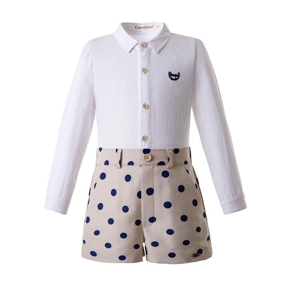 Ön satış Dot Boy Giyim Setleri Tek göğüslü Gömlek Nakış Logosu + haki Pantolon Ile Butik Rahat Çocuklar B-dmcs107-b377 Y190518 Giymek