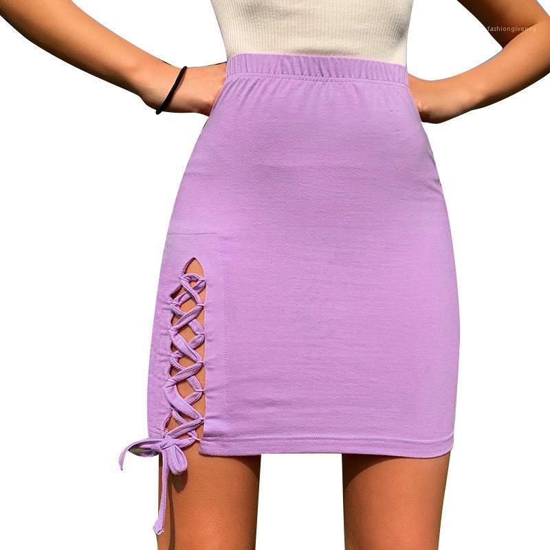 Verano de la cintura era delgada ocasional sólida color de la manera de la falda de la falda de las mujeres diseñador de Split una falda de línea