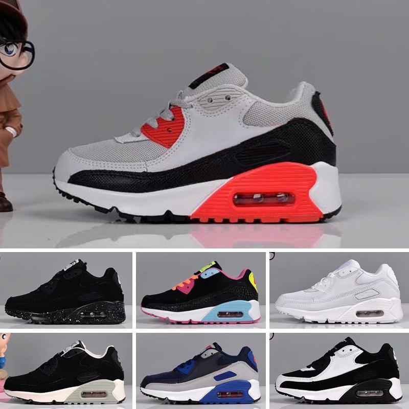 Nike Air Max 90 enfants Chaussures de sport 90 Chaussures Enfants Sports Chaussures Pour Enfants Filles Garçons Formateurs nourrisson Chaussures de course Taille 28-35