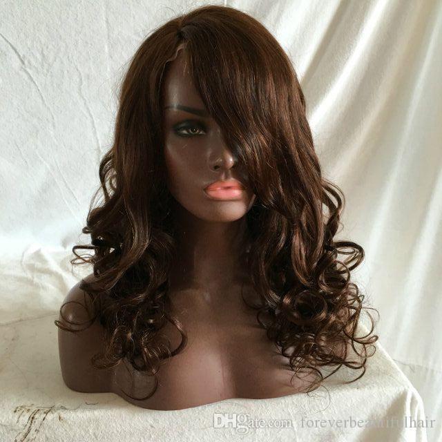 Parrucca parrucche H onda allentata piena del merletto Brown Colore Parte libera l'onda umana merletto della parte anteriore della parrucca onda allentata brasiliana dei capelli parrucche piene del merletto