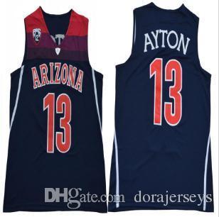 Deandre Ayton Koleji Basketbol Forması erkek NCAA Arizona Wilcats 13 Ayton basketbol Formaları Lacivert Kırmızı Beyaz Siyah Dikişli