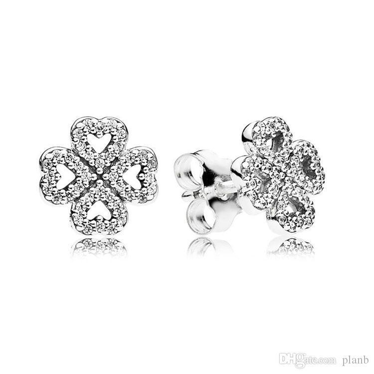 Luxusmode-CZ-Diamant-Blumen-Bolzen-Ohrring Original Box für Pandora 925 Silber Lucky Clover Hochzeit Ohrringe Set für Frauen