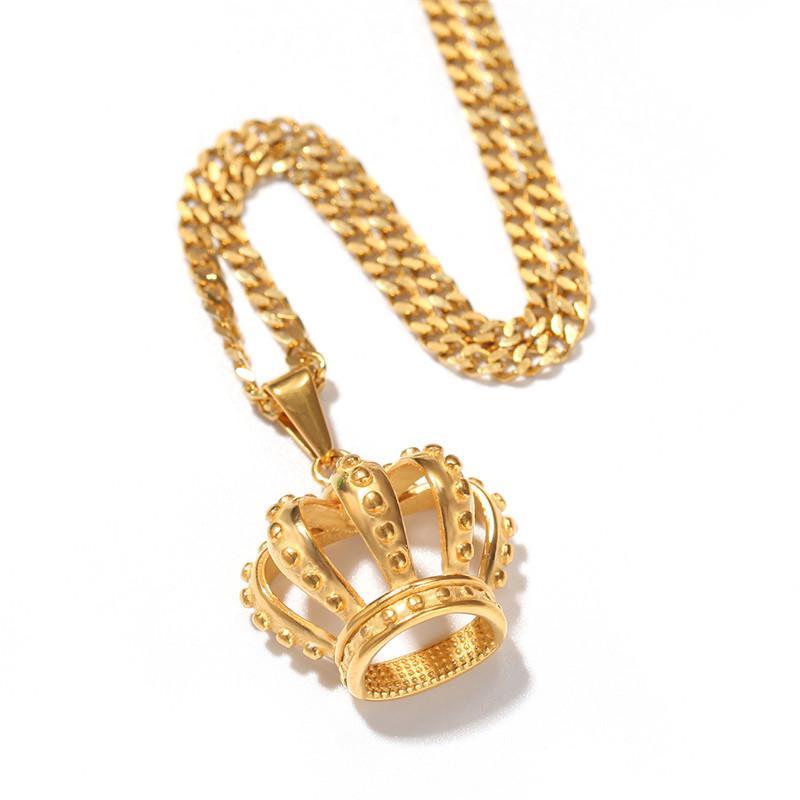 Collar de corona de Hip Hop Acero inoxidable Link cubano Estilo europeo y americano para el regalo del collar de los hombres