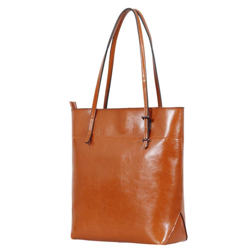 Pop2019 Will China Dual Color Oil Wax Genuine Leather Woman Joker Single Shoulder Package Trend Bag