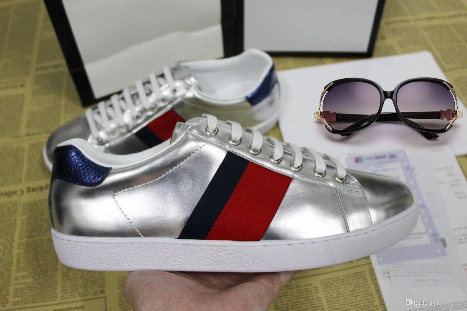 Designer scarpe ACE lusso ricamate Scarpe Marchi White Tiger Bee Snake progettista del cuoio genuino Sneaker Mens Women Casual Shoes 35-48