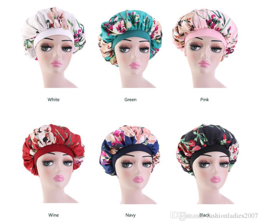Frauen Lange Haarpflege Satin Blumendruck Bonnet Cap Nachtschlaf Hut Silk Cap-Kopf-Verpackungs-elastische weiche Blume Silk Haar Bonnet Headwrap