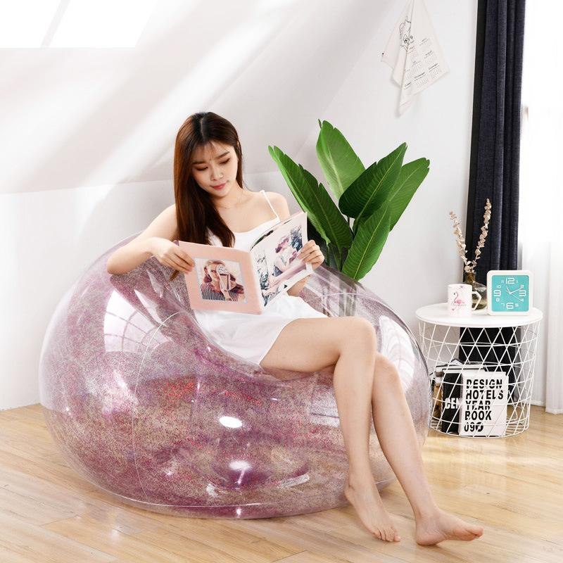 Outdoor Inflatable Sofa Confetti Glitter Lazy Lounger Bag Air Waterproof Rose Gold Inflatable Chair Bed Sleeping Bag Garden Sofa