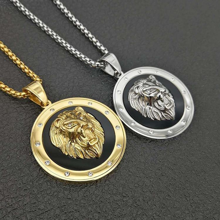 الهيب هوب جولة الأسد قلادة الفولاذ المقاوم للصدأ الذهب والفضة اللون الشرير الحيوان الأسد رئيس قلادة قلادة للرجال مجوهرات