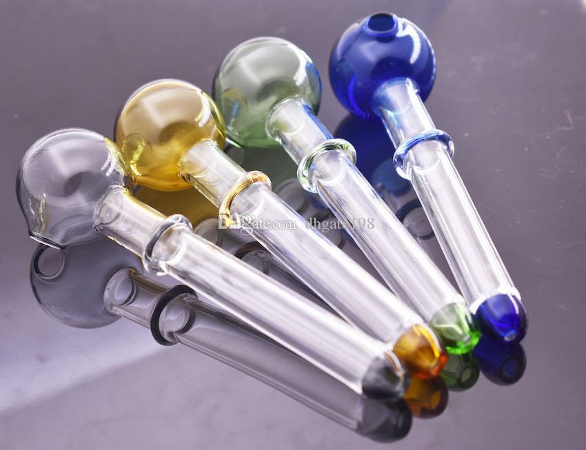 미니 저렴한 12cm OD 공 30mm 다채로운 유리 오일 버너 파이프 유리 핸드 파이프 흡연 담배 파이프 무료 배송