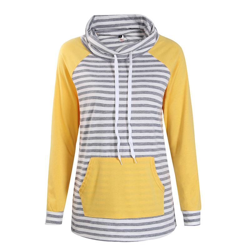 Hoodies Frauen Herbst Langarm-Sweatshirt Frauen Mode Streifen Print Pullover Femme Lässige Kapuzenoberteile Neu