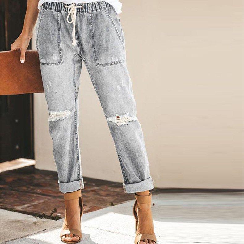 Femmes elastic Taille Poches Jeans Denim Trous Pantalon Pantalon Année Pantalon en vrac