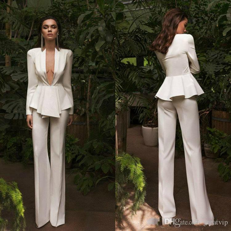 Chic 2020 Women Suits Evening Dresses Sexy Deep V Neck Long Sleeve Pant Suits Prom Gowns Party Wear