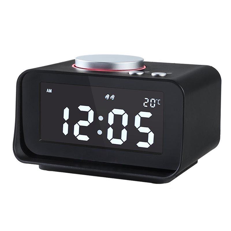 Digital Alarm Clock Fm Radio Loud Alarm Clock For Heavy Sleepers With Dual ,Aux In And Dual Usb Charging Ports(Black,Eu Pl