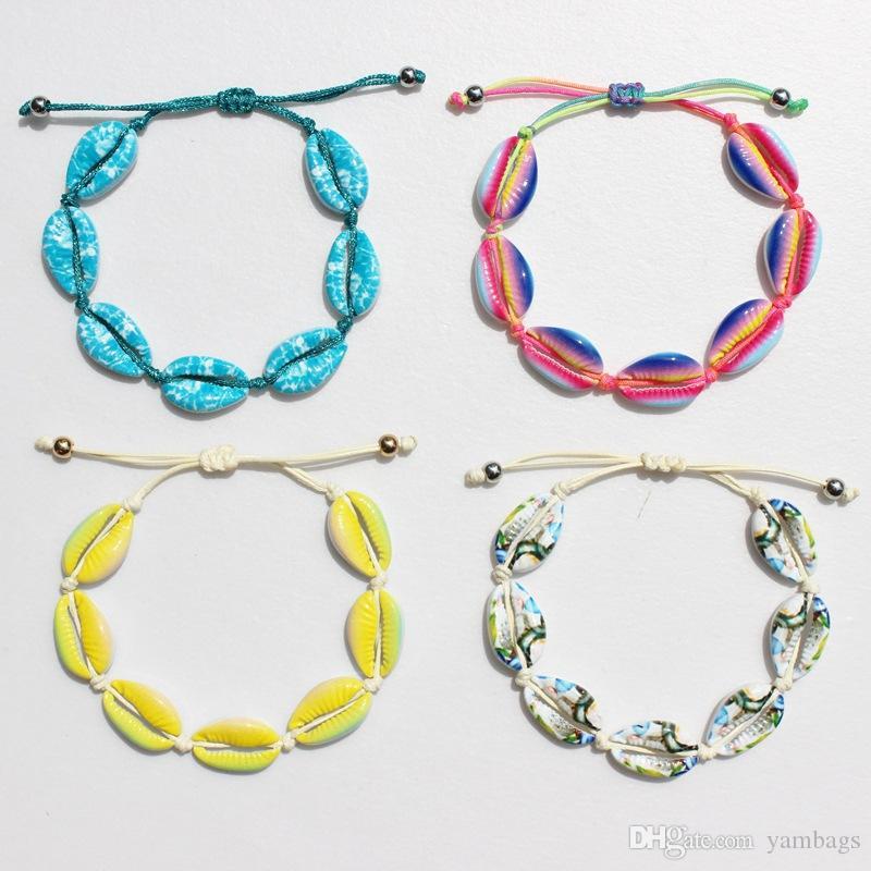 Los depósitos hechos a mano joyería pulseras hechas punto del arco iris de colores a mano de punto de chicas Beads los brazaletes de las pulseras del encanto ajustables trenzadas para la Mujer