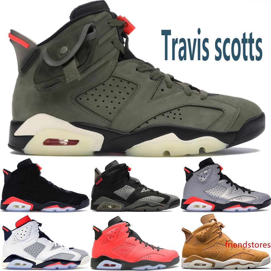 Baratos 2020 Travis Scotts Preto infravermelho sapatos de 6 6s basquete homens mens PSG Tinker Oreo CNY UNC designer de sapatilhas US 7-13