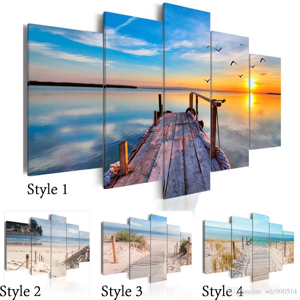 Sin marco 5 unids Moderno Paisaje Arte de la pared Decoración del hogar Pintura Lienzos Impresiones Imágenes Paisaje marino con playa (Sin marco)