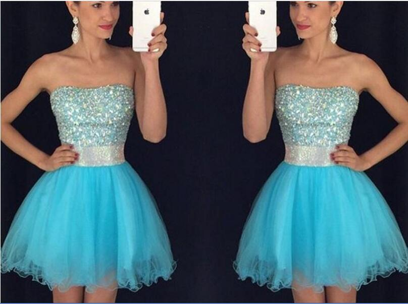 Strapless Short Homecoming Dresses Beading Crystal Organza blue dresses for juniors Zipper Party Dresses For Gown