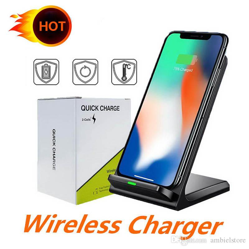tutto Qi-enabled smartphone dual bobine caricatore senza fili veloce Qi Wireless Charging Pad basamento per l'iPhone X 8 8plus Samsung Note 8 S8 S7 S10