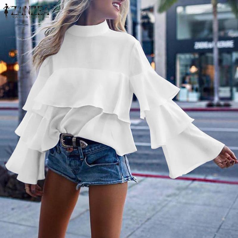 2020 Primavera sólido rizadas camisas ZANZEA Moda de la llamarada de la manga Tops Túnica elegante de las mujeres de la gasa de la blusa de trabajo Blusas Mujer Chemise